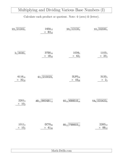 The Multiplying and Dividing Various Base Numbers (I) Math Worksheet