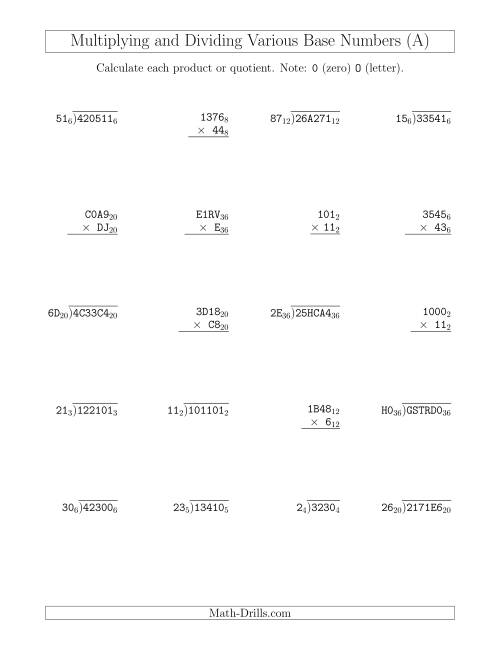 The Multiplying and Dividing Various Base Numbers (All) Math Worksheet