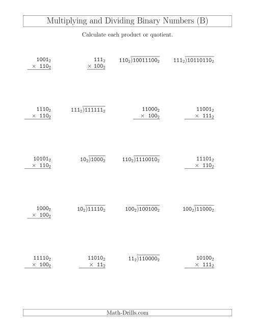 The Multiplying and Dividing Binary Numbers (Base 2) (B) Math Worksheet
