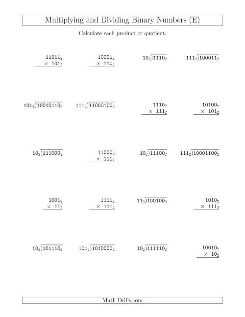 The Multiplying and Dividing Binary Numbers (Base 2) (E) Math Worksheet