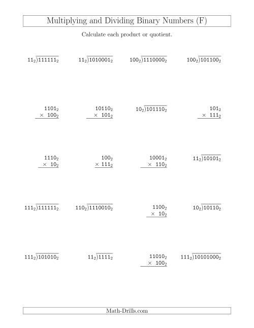 The Multiplying and Dividing Binary Numbers (Base 2) (F) Math Worksheet