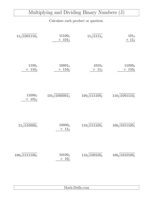 The Multiplying and Dividing Binary Numbers (Base 2) (J) Math Worksheet