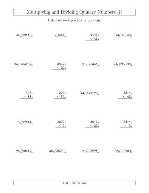 The Multiplying and Dividing Quinary Numbers (Base 5) (I) Math Worksheet