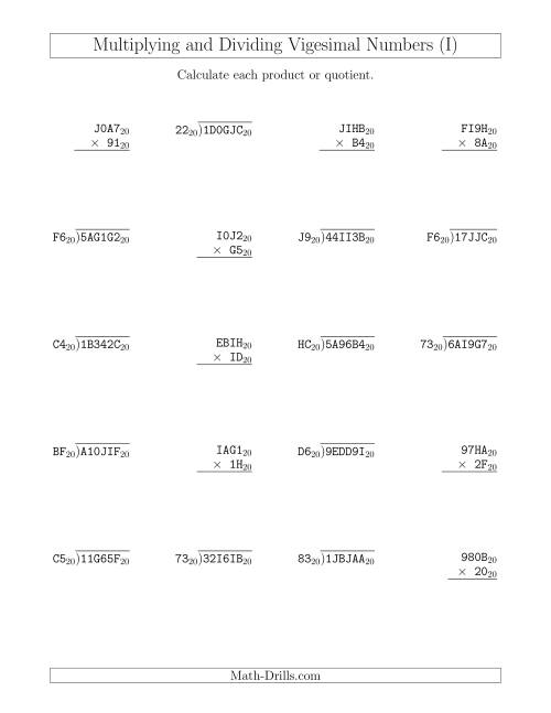 The Multiplying and Dividing Vigesimal Numbers (Base 20) (I) Math Worksheet