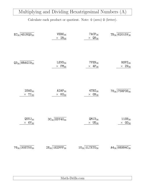 multiplying and dividing hexatrigesimal numbers base 36 a mixed operations worksheet. Black Bedroom Furniture Sets. Home Design Ideas