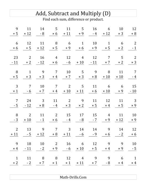 The Adding, Subtracting and Multiplying with Facts From 1 to 12 (D) Math Worksheet