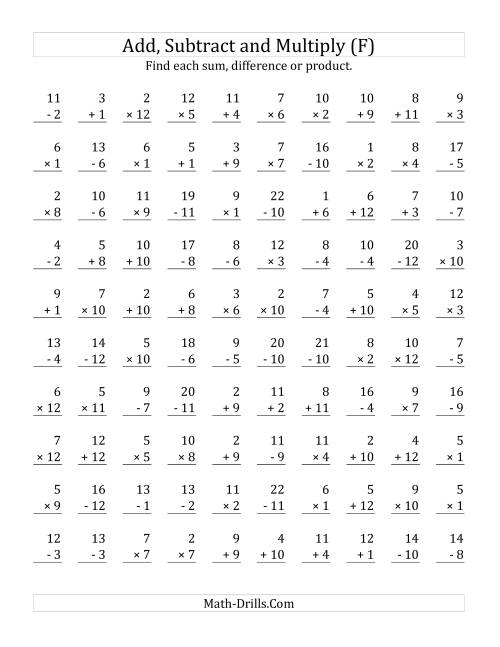 The Adding, Subtracting and Multiplying with Facts From 1 to 12 (F) Math Worksheet