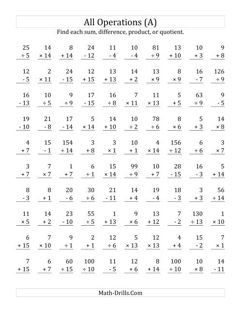 The All Operations with Facts From 1 to 15 (A) Math Worksheet