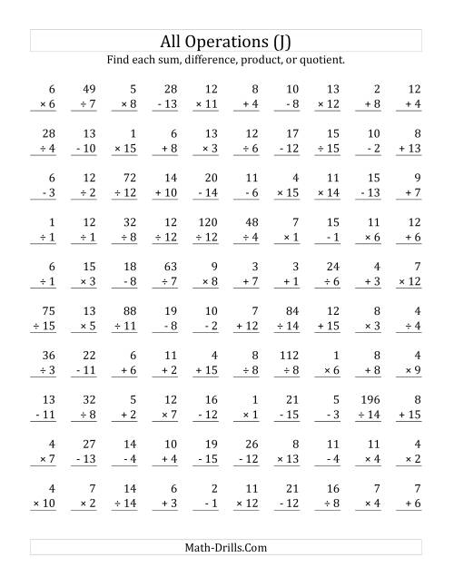 The All Operations with Facts From 1 to 15 (J) Math Worksheet