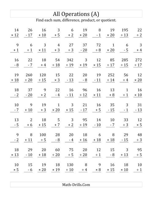 The All Operations with Facts From 1 to 20 (A) Math Worksheet