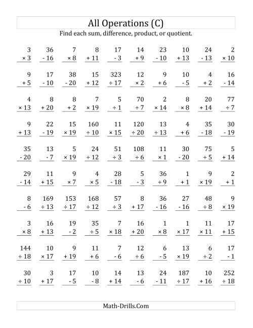 The All Operations with Facts From 1 to 20 (C) Math Worksheet