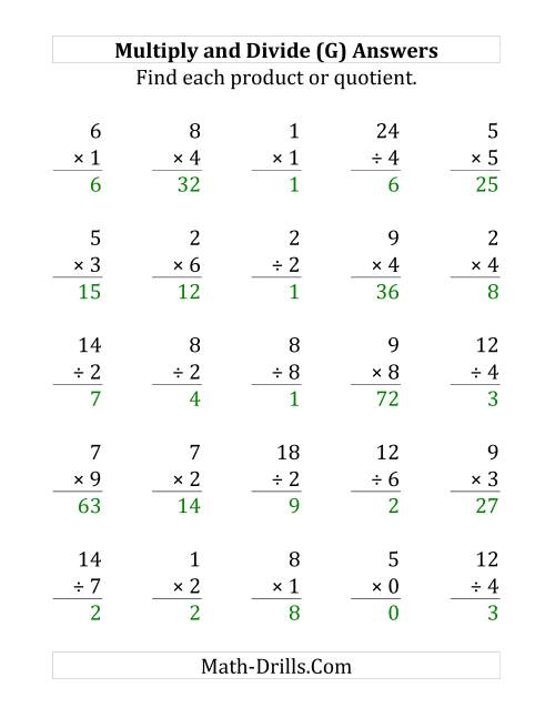 The Multiplying and Dividing with Facts From 0 to 9 (G) Math Worksheet Page 2
