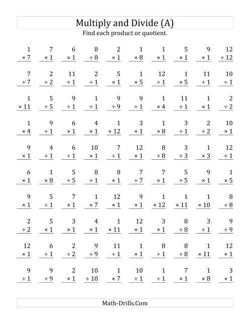 Multiplying and Dividing by 1 A – Speed Math Worksheets