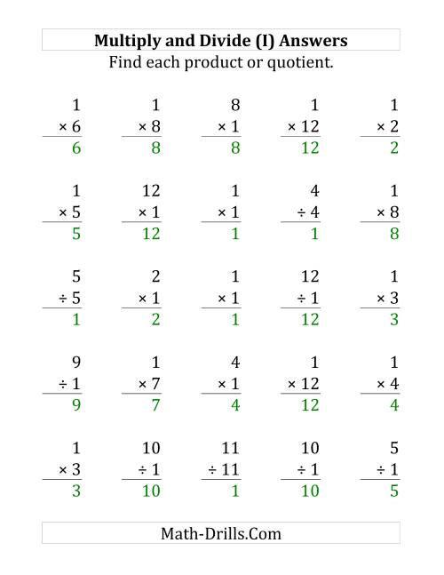 The Multiplying and Dividing by 1 (I) Math Worksheet Page 2