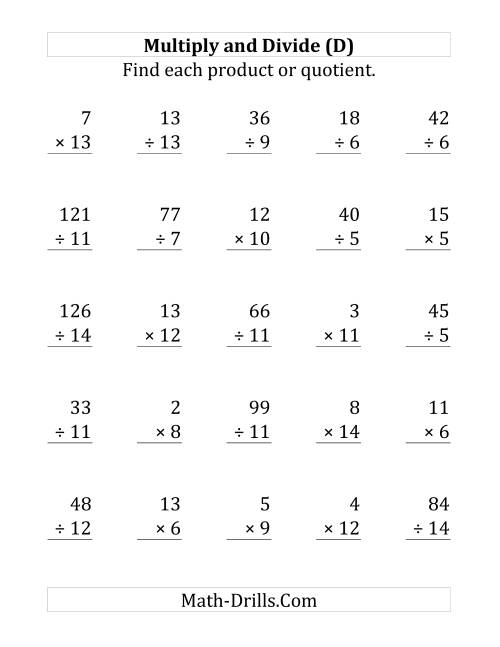 The Multiplying and Dividing with Facts From 1 to 15 (D) Math Worksheet
