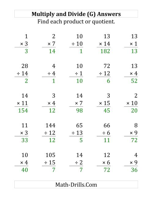 The Multiplying and Dividing with Facts From 1 to 15 (G) Math Worksheet Page 2