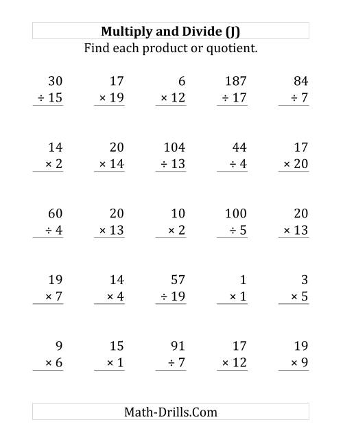 The Multiplying and Dividing with Facts From 1 to 20 (J) Math Worksheet
