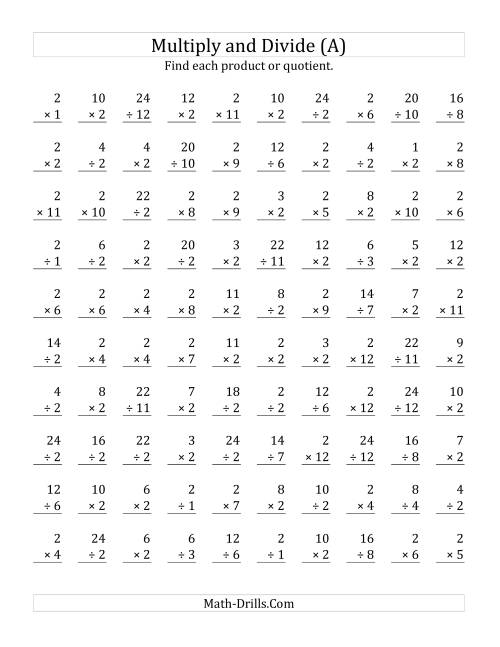 The Multiplying and Dividing by 2 (A) Math Worksheet