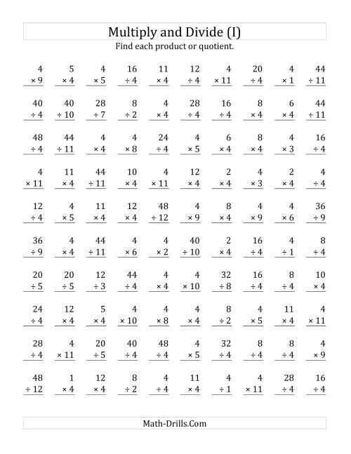 The Multiplying and Dividing by 4 (I) Math Worksheet