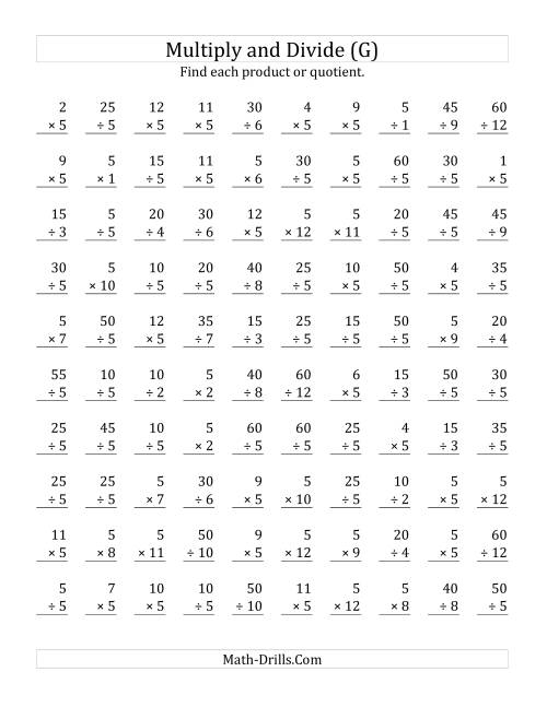 The Multiplying and Dividing by 5 (G) Math Worksheet