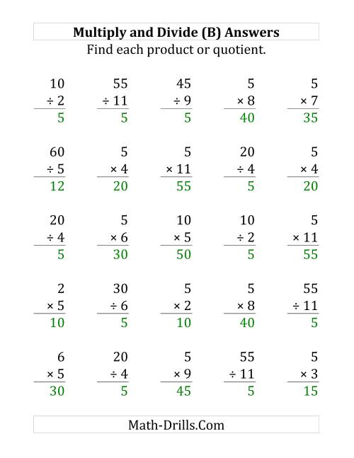 The Multiplying and Dividing by 5 (B) Math Worksheet Page 2
