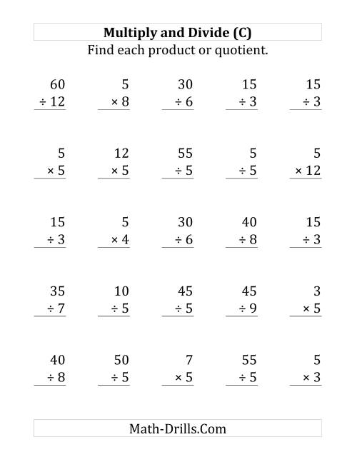 The Multiplying and Dividing by 5 (C) Math Worksheet