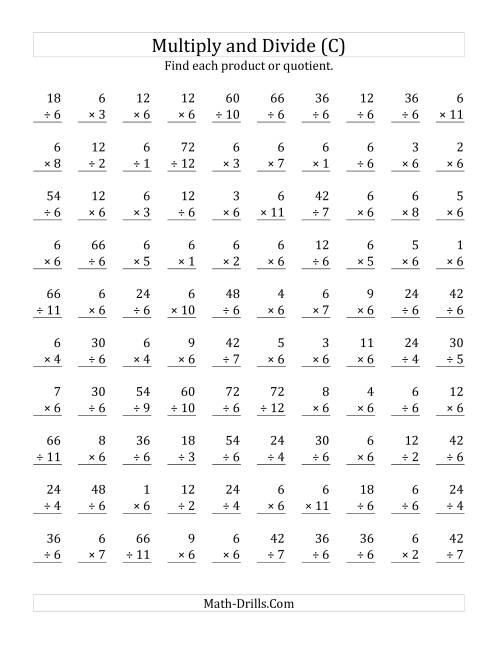 The Multiplying and Dividing by 6 (C) Math Worksheet