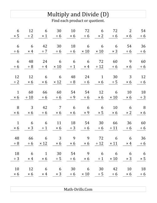The Multiplying and Dividing by 6 (D) Math Worksheet