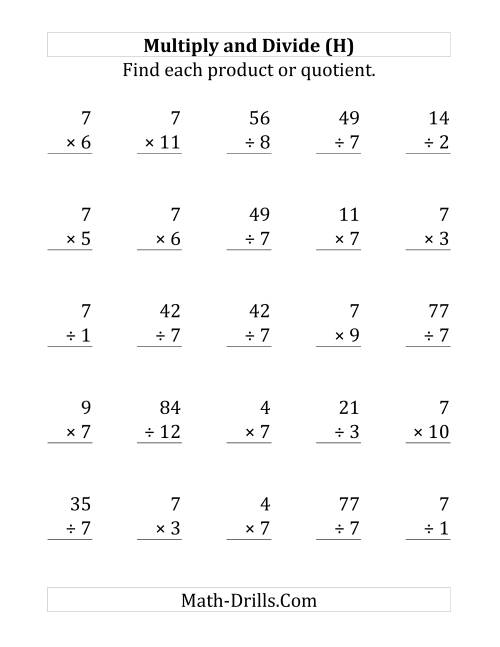 The Multiplying and Dividing by 7 (H) Math Worksheet