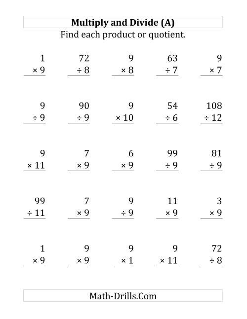 The Multiplying and Dividing by 9 (A) Math Worksheet