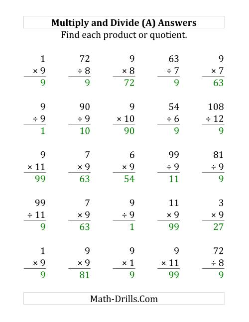The Multiplying and Dividing by 9 (A) Math Worksheet Page 2