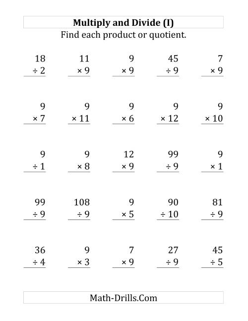 The Multiplying and Dividing by 9 (I) Math Worksheet