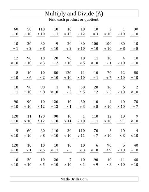 The Multiplying and Dividing by 10 (A) Math Worksheet