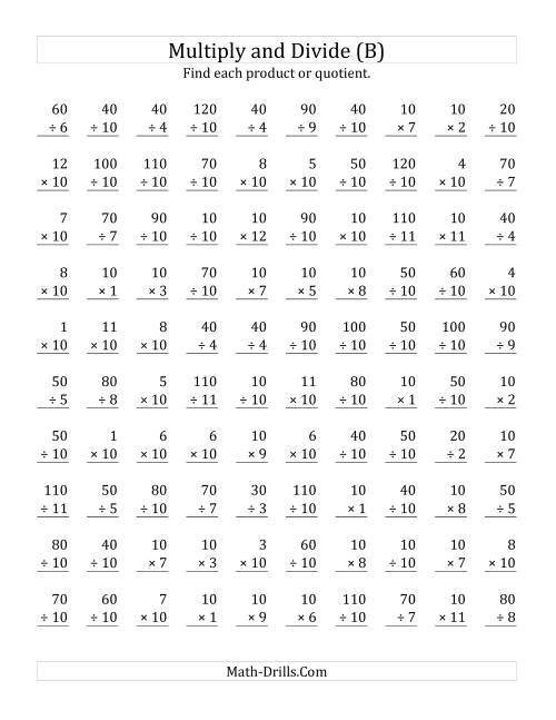 The Multiplying and Dividing by 10 (B) Math Worksheet