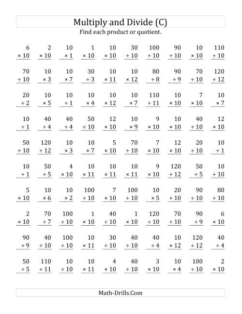 The Multiplying and Dividing by 10 (C) Math Worksheet