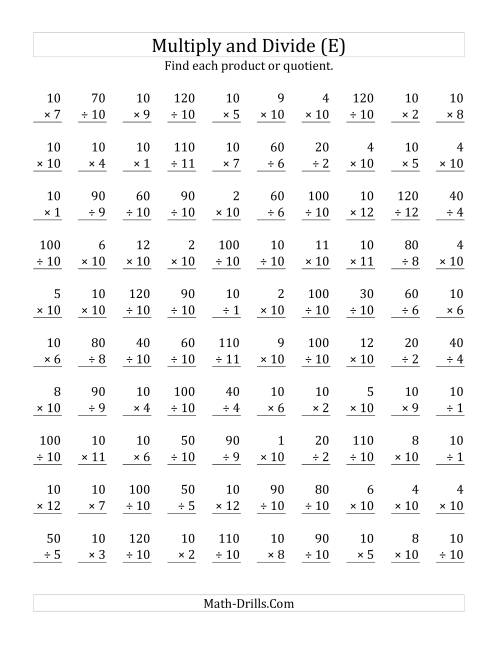 The Multiplying and Dividing by 10 (E) Math Worksheet