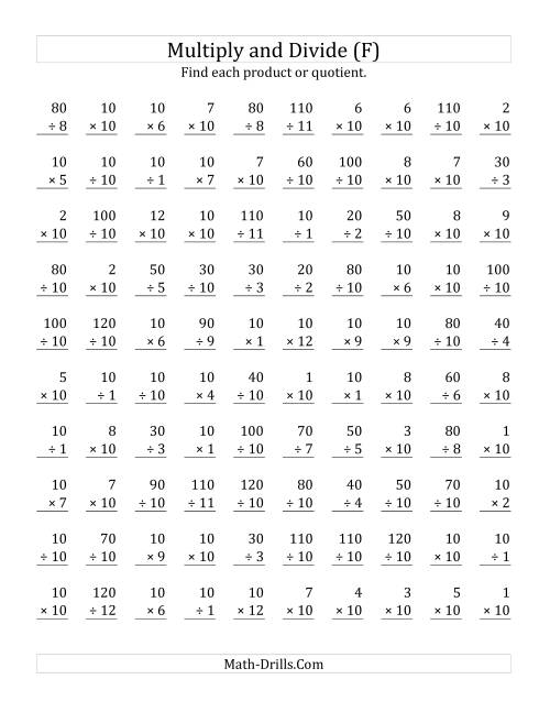 The Multiplying and Dividing by 10 (F) Math Worksheet