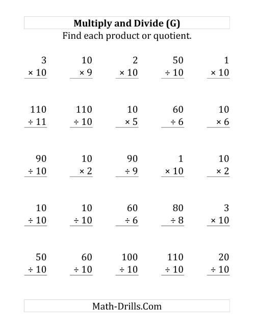 The Multiplying and Dividing by 10 (G) Math Worksheet
