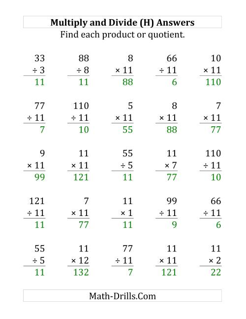 The Multiplying and Dividing by 11 (H) Math Worksheet Page 2