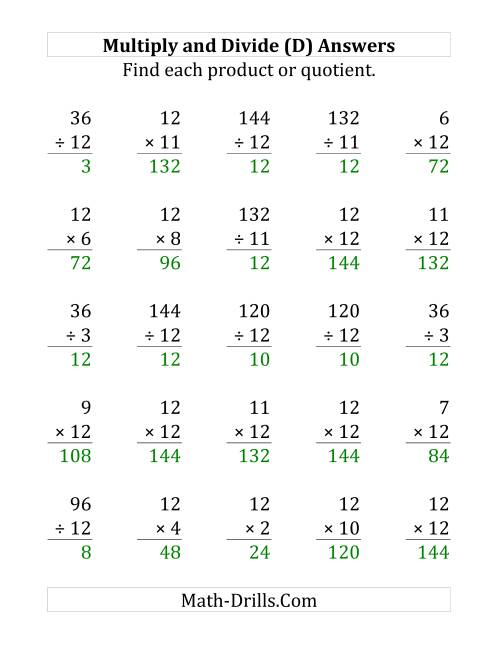 The Multiplying and Dividing by 12 (D) Math Worksheet Page 2