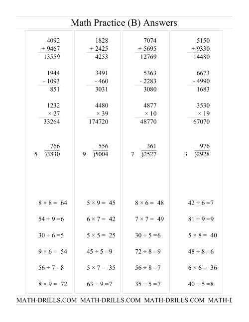 The All Operations with Long and Short Questions (B) Math Worksheet Page 2