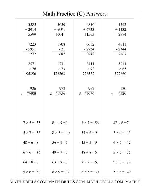 The All Operations with Long and Short Questions (C) Math Worksheet Page 2