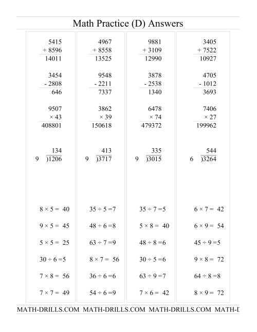 The All Operations with Long and Short Questions (D) Math Worksheet Page 2