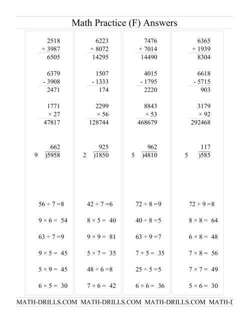 The All Operations with Long and Short Questions (F) Math Worksheet Page 2