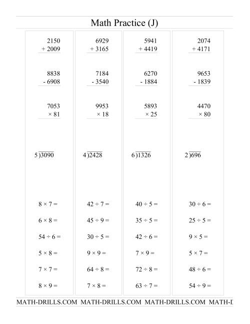 The All Operations with Long and Short Questions (J) Math Worksheet