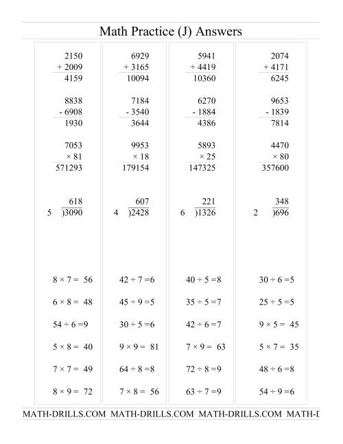 The All Operations with Long and Short Questions (J) Math Worksheet Page 2