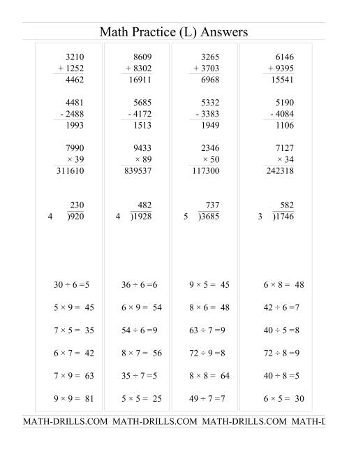 The All Operations with Long and Short Questions (L) Math Worksheet Page 2