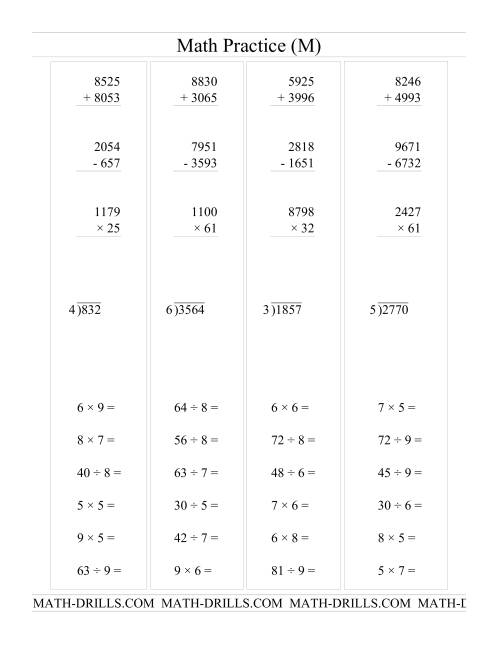 The All Operations with Long and Short Questions (M) Math Worksheet