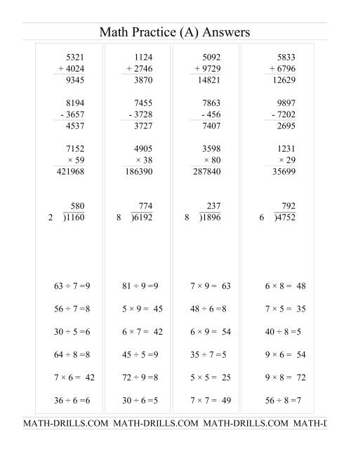The All Operations with Long and Short Questions (All) Math Worksheet Page 2