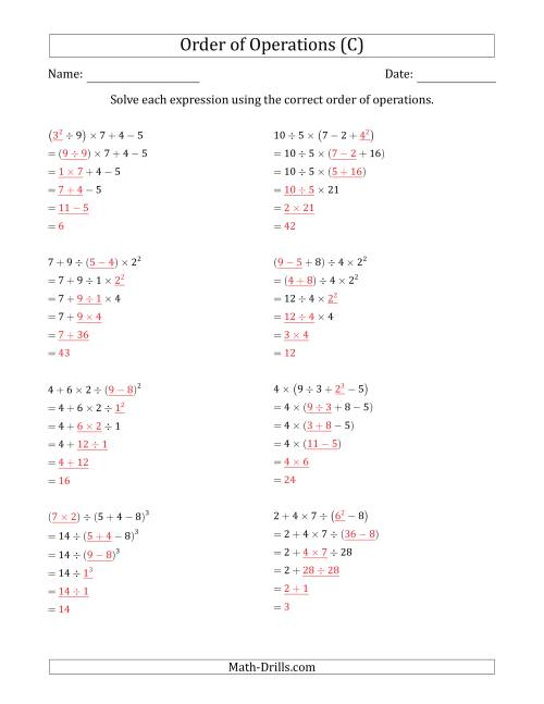 The Order of Operations with Whole Numbers (Five Steps) (C) Math Worksheet Page 2